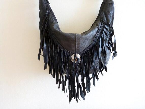 80s Black Leather Tassle Bag- Glam Rock, Fringe, Shoulder Bag