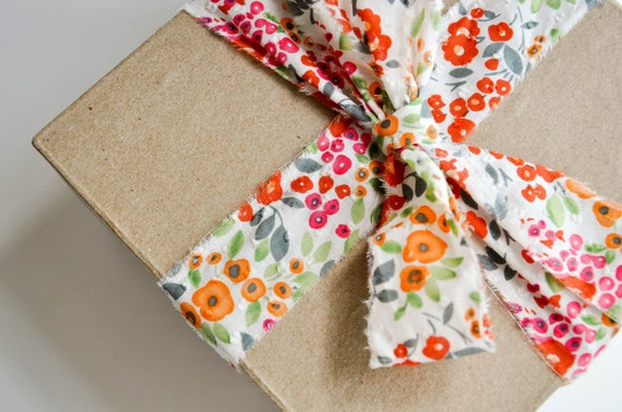 LAST CHANCE Floral Dot Fabric Ribbon