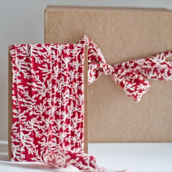 NEW Crimson Coral Fabric Ribbon - 5 Yards