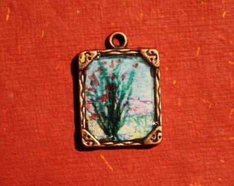 Cactus in Bloom- Original Art Necklace sealed in Resin