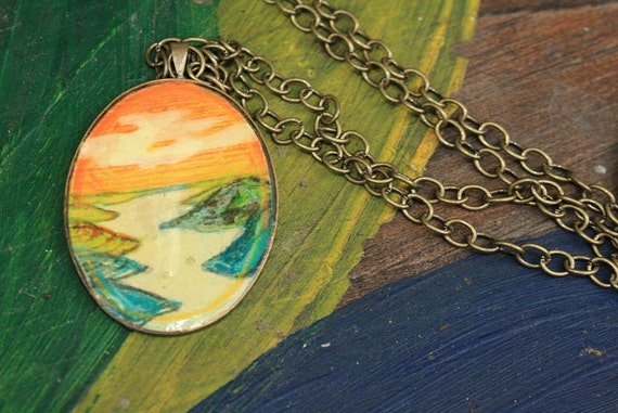 RESERVED for Beth Bingham- One Flew over the Lake- hand drawn necklace