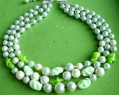 Gorgeous Green 1950s Japan Glass Lamp work Bead Necklace