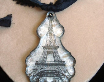 Vintage French Chandelier Crystal Eiffel Tower PARIS Je T'aime (I love you) Necklace Pendant