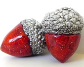 Acorn Decorations - Red Hot Acorn Pair with Silver Caps - Handmade Polymer Clay - Made to Order