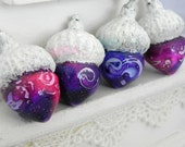 Shabby Chic Pink and Purple Acorns Decorations - Handmade Polymer Clay