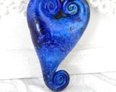 Stormy Blue Triple Spiral Heart Pendant/Bead