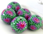 5 Green Purple Pink Dahlia Round Polymer Clay Beads