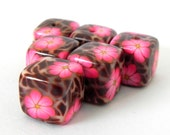 6 Square Handmade Polymer Clay Beads - Pink Flowers on Brown Spots