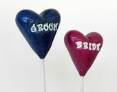 Wedding Cake Topper, Bride and Groom Hearts Blue and Fuchsia Keepsake, Wedding Shower Gift