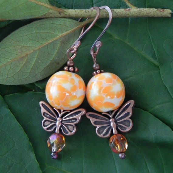 25% OFF SALE, Orange Blossom Butterfly Earrings