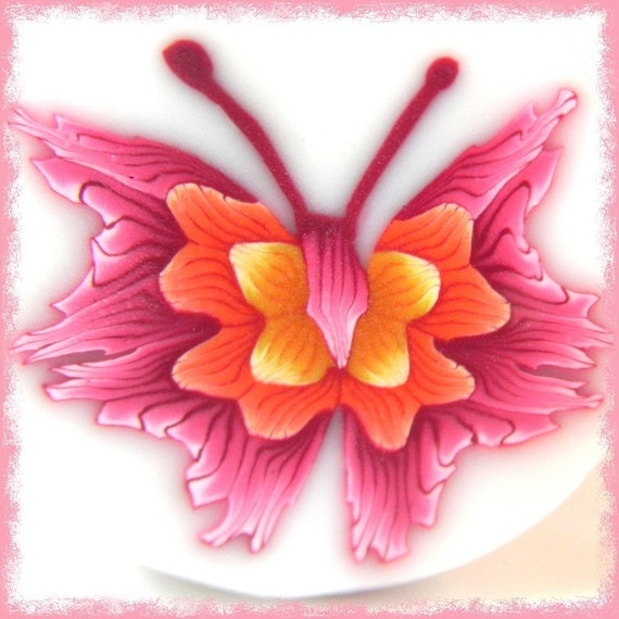 Butterfly Cane-Polymer Clay-Pink, Orange, Yellow,Tattered Wings