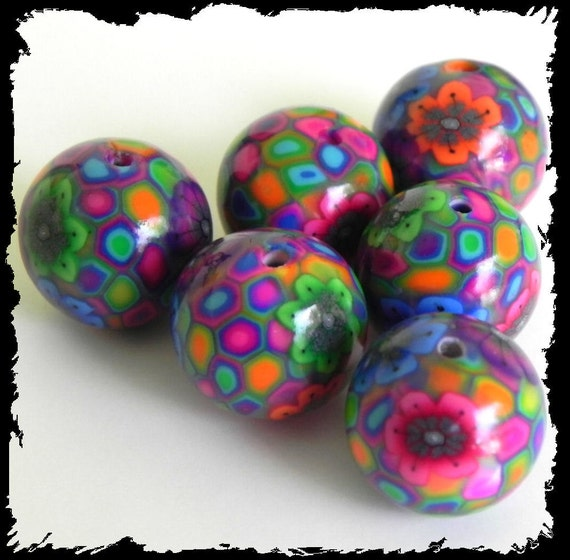 6 Handmade Polymer Clay Beads - Hippie Patch with Flowers - Made to Order