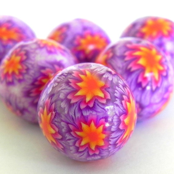 6 Dahlia Flower Polymer Clay Beads - Made To Order