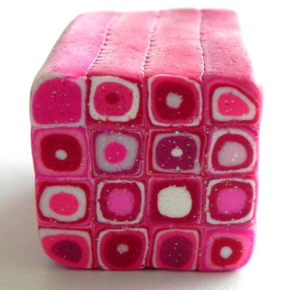 Glittery Pink Valentine Retro Cane - Handmade Polymer Clay Cane