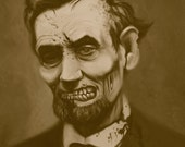 "Zombie Abraham Lincoln 11x14"" Print"