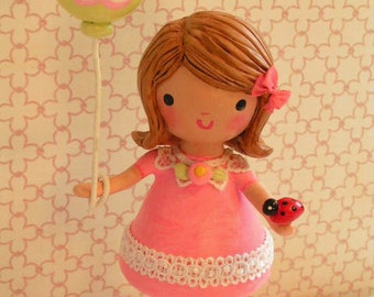 Once Upon A Birthday Cake Party Little Girl's Handmade Cake Topper Decoration Decor Pink Clothespin Doll Handmade Pink One Kids Traditional