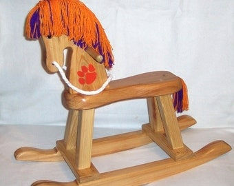 Wooden Rocking Horse - Orange with tiger paw