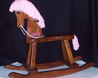 Personalized Toddler Rocking Horse- pink mane