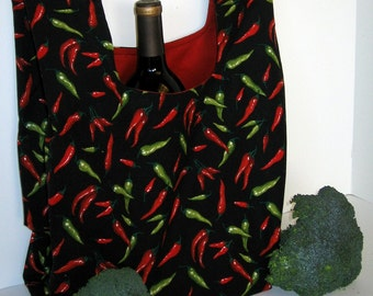 Grocery Bag, Market Bag, Eco-Friendly Hot Pepper Fabric
