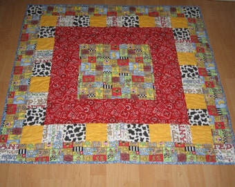 Western Baby Quilt/ Cowboy or Cowgirl    ON SALE