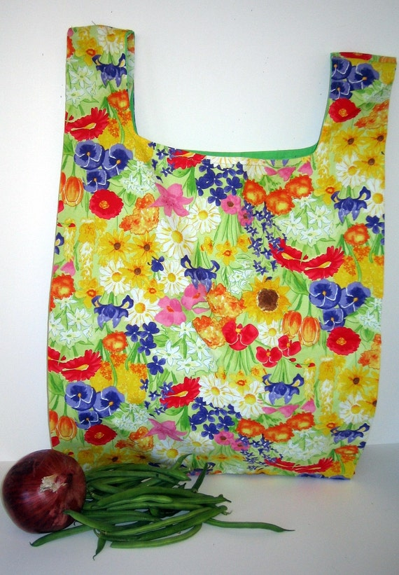Flower Print Eco-Friendly Grocery Bag
