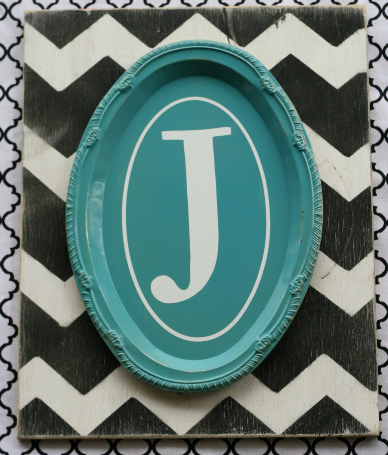 Items Similar To Turquoise And Black And White Chevron