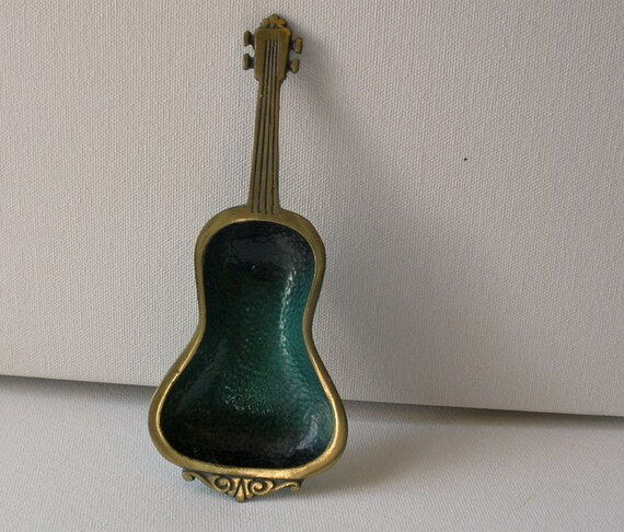 Vintage 60s Guitar Brass Ashtray Ring Holder Rare Israel RESERVED
