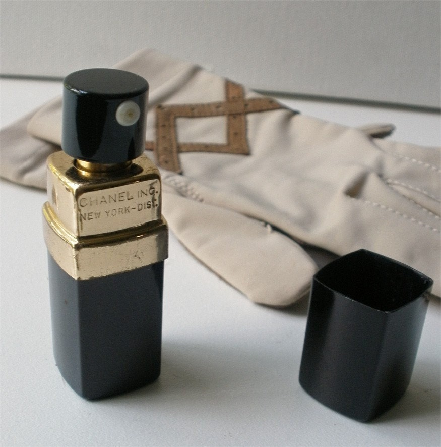 Vintage Chanel No 5 Empty Black Perfume Spray Bottle