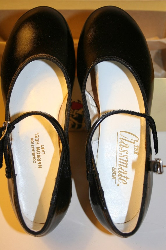 1960's Girls Patent Leather Classmate Shoe, New Old Stock