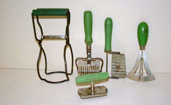 Vintage Green Handle Kitchen Utensils