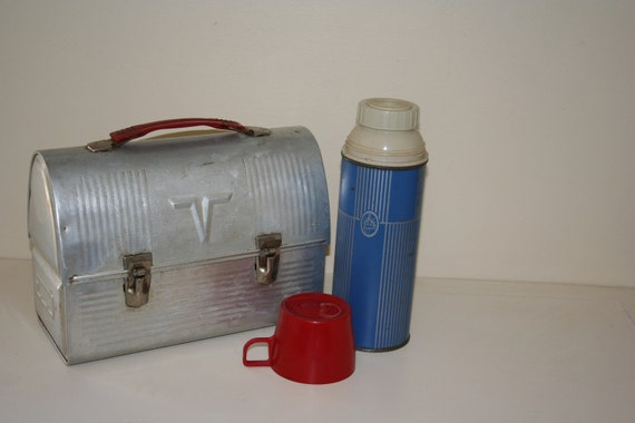 Vintage Thermos Tin Lunch Box with Thermos