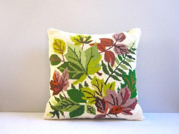Autumn Foliage Embroidered Pillow