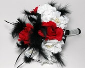 OOAK Rose and Feather Bridal Bouquet with Rhinestone BLING Handle