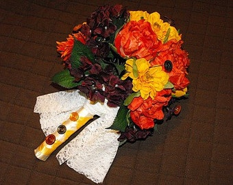 SALE---Fall Bouquet With Button Accents and Matching Boutineer
