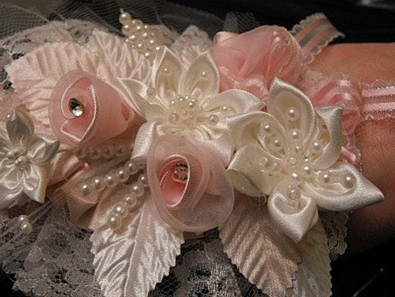 Pastel Pink  and Cream Wrist Corsage