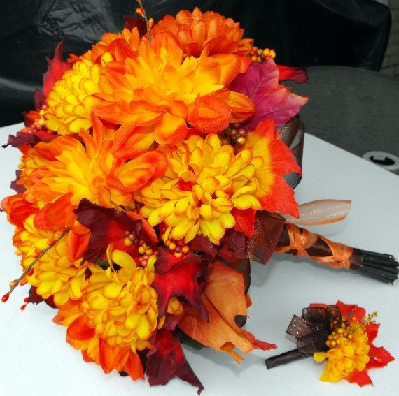 Fall Mum and Leaf Bouquet with Matching Boutineer