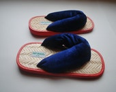 Unique Casual Shoes .Vintage Revival flip flops .Paisley Textured Indigo Blue .Throwback styled Velveteen Upper .Bamboo and foam sole .7-8