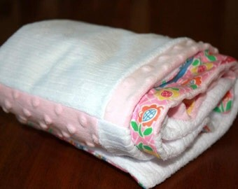 Pink Minky and Flannel Blanket
