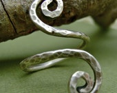 Rustic Hammered Sterling Silver Spiral Open Wrap Ring