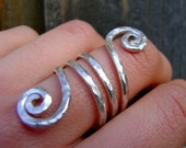 Hammered Sterling Silver Spiral Double Wrap Ring
