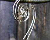 Koru Silver Spiral Hoop Earrings. Recycled Sterling Silver Spiral Earrings.
