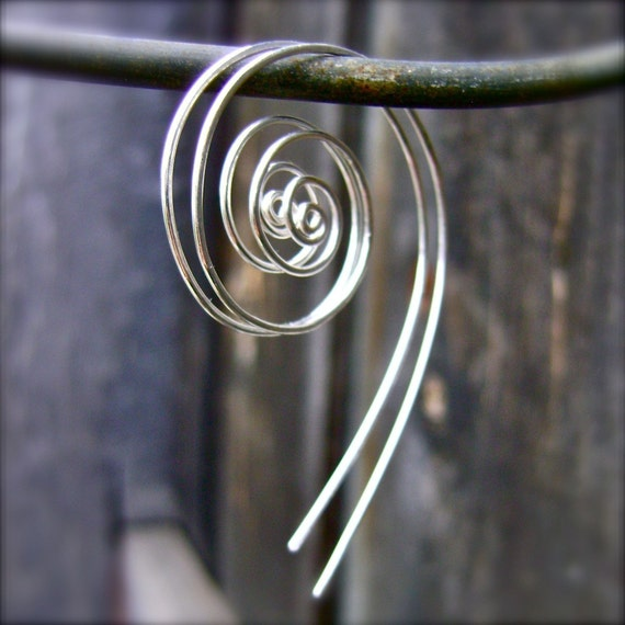 Koru Silver Spiral Hoop Earrings. Recycled Sterling Silver Spiral Earrings.