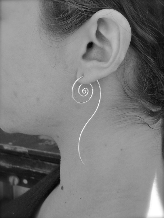 Unfurl Earrings in Recycled Sterling Silver. Silver Spiral Hoop Earrings.