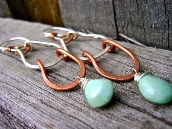 Cascade Earrings, Turquoise, Silver and Copper. Jewelry by FullSpiral on Etsy