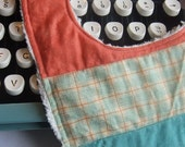 Quilted Baby Bib, Turquoise Plaid Custom Listing for Nancy
