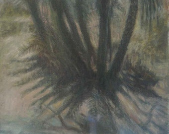 A palm tree by the stream, an original oil on canvas painting - free shipping