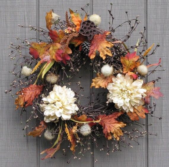Autumn Wreath Cream And Burnt Orange Front Door Wreath