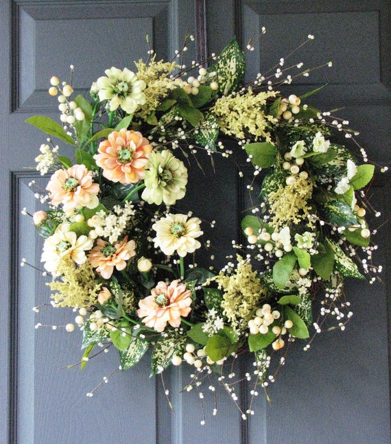 Spring-Summer Wreath in Sherbet Cream Colors