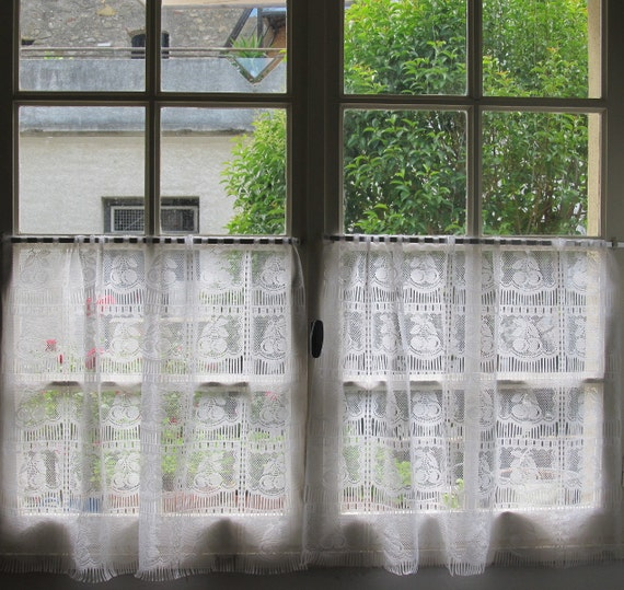 Pair Vintage French Lace Curtains Cafe Curtains Panels
