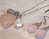 Pink Chalcedony Stone Pendant, White Freshwater Pearl, & Sterling Pineapple Charm Sterling Silver Chain Necklace and Earrings